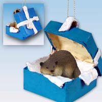Beaver Gift Box Blue Ornament