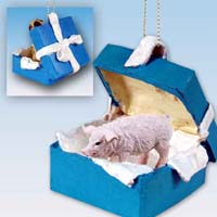 Pig Pink Gift Box Blue Ornament