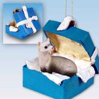 Ferret Gift Box Blue Ornament
