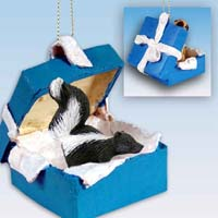 Skunk Gift Box Blue Ornament