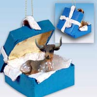 Long Horn Steer Gift Box Blue Ornament