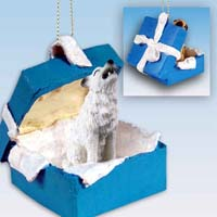Wolf White Gift Box Blue Ornament