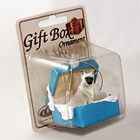 Ornament Gift Box Blue Cats