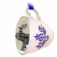 Ornaments Tea Cup Blue Animals