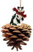 Black & White Shorthaired Tabby Cat Pinecone Pet Ornament