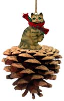 Brown Shorthaired Tabby Cat Pinecone Pet Ornament