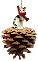 Tortoise & White Cornish Rex Pinecone Pet Ornament