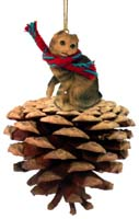 Brown Tabby Scottish Fold Pinecone Pet Ornament