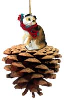 Tortoise & White Scottish Fold Pinecone Pet Ornament