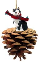 Black & White Manx Pinecone Pet Ornament