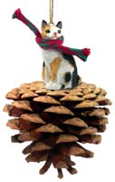 Tortoise & White Japanese Bobtail Pinecone Pet Ornament