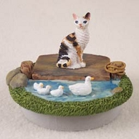 Tortoise & White Cornish Rex Candle Topper Tiny One