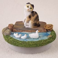 Tortoise & White Scottish Fold Candle Topper Tiny One