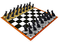 German Shepherd Black Chess Set (Pieces Only)