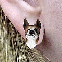 Boxer Brindle Earrings Post