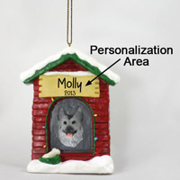 Silver & German Shepherd Black House Ornament (Personalize-It-Yourself)