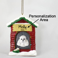 Poodle White w/Sport Cut House Ornament (Personalize-It-Yourself)
