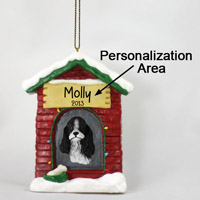 Cocker Spaniel Black & White House Ornament (Personalize-It-Yourself)
