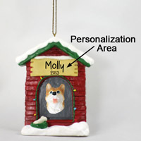 Husky Red & White w/Blue Eyes House Ornament (Personalize-It-Yourself)