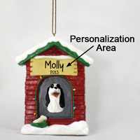 Springer Spaniel Black & White House Ornament (Personalize-It-Yourself)