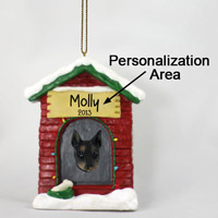 Doberman Pinscher Black w/Cropped Ears House Ornament (Personalize-It-Yourself)