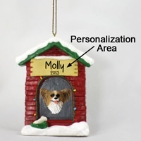 Papillon Brown & White House Ornament (Personalize-It-Yourself)