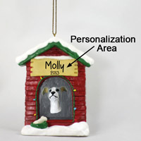 Greyhound Blue House Ornament (Personalize-It-Yourself)