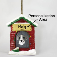 Whippet Gray & White House Ornament (Personalize-It-Yourself)