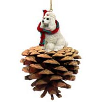 Poodle White Pinecone Pet Ornament