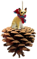Chihuahua Tan & White Pinecone Pet Ornament
