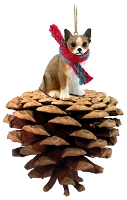 Chihuahua Brindle & White Pinecone Pet Ornament