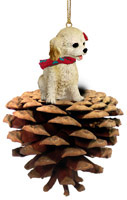 Cockapoo Blond Pinecone Pet Ornament