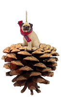 Pug Fawn Pinecone Pet Ornament