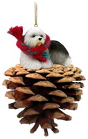 Old English Sheepdog Pinecone Pet Ornament