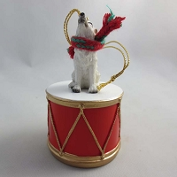 Wolf White Drum Ornament
