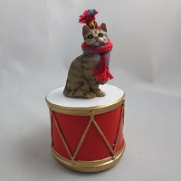 Short Hair Brown Tabby Drum Ornament
