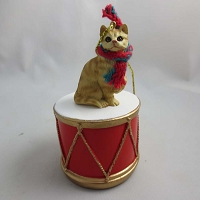 Short Hair Red Tabby Drum Ornament