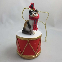 Short Hair Calico Drum Ornament