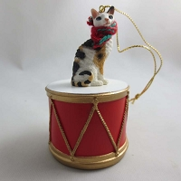 Cornish Rex Tort/Wht Drum Ornament
