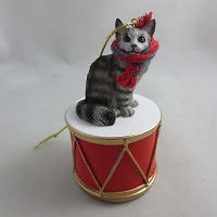 Maine Coon Silver Tabby Drum Ornament