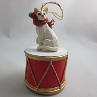 Oriental Short Hair White Drum Ornament