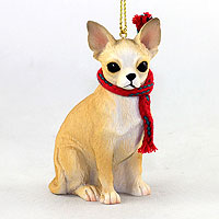 Chihuahua Tan & White Original Ornament, Large