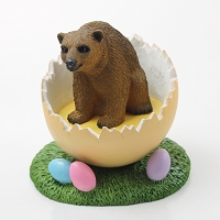 Bear Brown Easter Egg Figurine