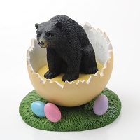 Bear Black Easter Egg Figurine
