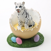 Tiger White Easter Egg Figurine