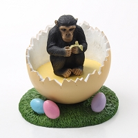 Chimpanzee Easter Egg Figurine