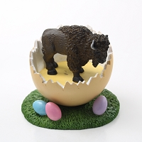Buffalo Easter Egg Figurine