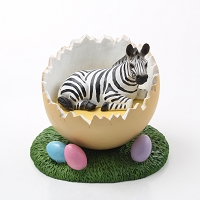 Zebra Easter Egg Figurine