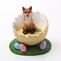 Fox Red Easter Egg Figurine