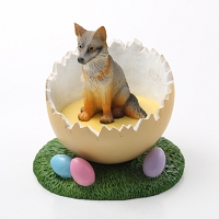 Fox Gray Easter Egg Figurine